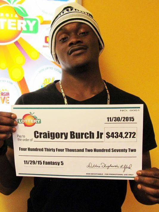 Burch after winning the Georgia Lottery.