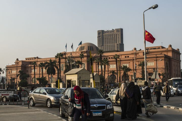 A Chinese national flag flutters in front of the Egypt Museum in Cairo.