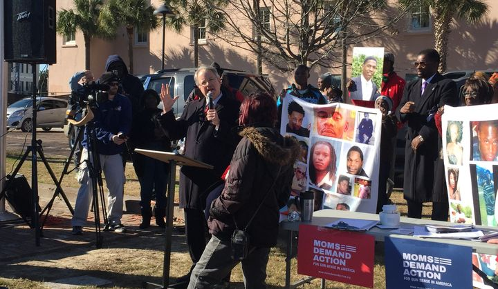 Charleston's Democratic mayor, John Tecklenburg, spoke at a gun violence-themed rally on Martin Luther King&n