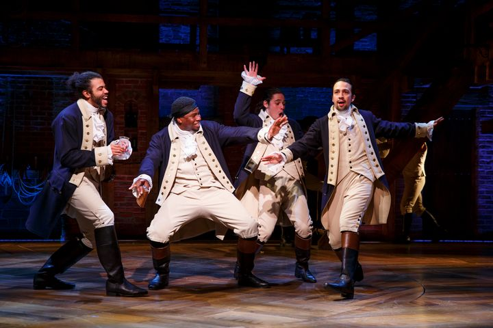 Actor Lin-Manuel Miranda, far right, as American revolutionary Alexander Hamilton.