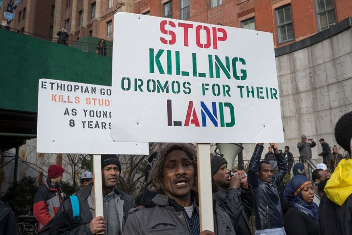 A protest outside the United Nations in New York City. Human Rights Watch claims the Ethiopian government has killed over 140