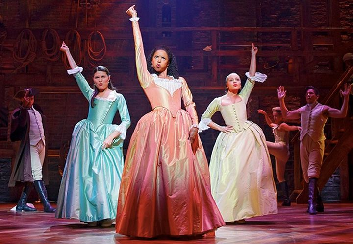 Actors Phillipa Soo as Eliza Hamilton, Renee Elise Goldsberry as Angelica Schuyler and Jasmine Cephas Jones as Peggy Schuyler