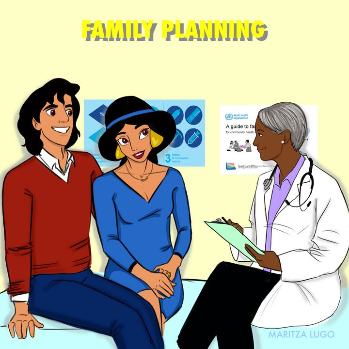 Congrats! Princess Jasmine and her husband Aladdin are expecting! They're talking options and family planning through with their doctor.