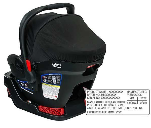 Where you can find the model number on Britax B-Safe 35 and B-Safe 35 Elite Car Seat/Carriers.