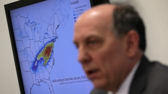 COLLEGE PARK, MD - JANUARY 21:  As a snowfall prediction diagram is seen in the background, National Weather Service Director Louis Uccellini speaks during a news conference on a winter storm forecast January 21, 2016 at the NOAA Center for Weather and Climate Prediction in College Park, Maryland. A winter snowstorm is forecasted for the East Coast this weekend with prediction of up to 30 inches of snow for the DC area.  (Photo by Alex Wong/Getty Images)