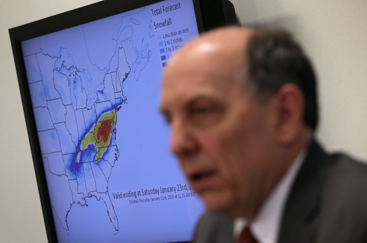Director Louis Uccellini speaks during a news conference on a winter storm forecast January 21, 2016 at the NOAA Center for W