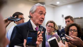 UNITED STATES - DECEMBER 15: Sen. Ed Markey, D-Mass., speaks with reporters as he arrives in the Capitol for the Senate Democrats' policy lunch on Tuesday, Dec. 15, 2015. (Photo By Bill Clark/CQ Roll Call)