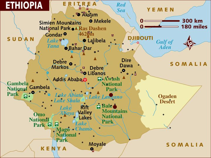 A map of Ethiopia, which shows the capital of Addis Ababa. The Oromia region makes up two-thirds of the country, and surround