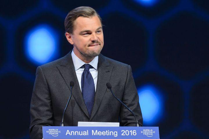 Leonardo DiCaprio bashed the oil industryat the World Economic Forum in Davos on Jan. 19, 2016.