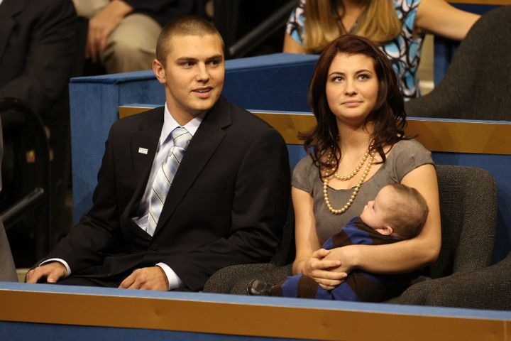 From left: Track Palin, Willow Palin and Trig Palin at the 2008 Republican National Convention in St. Paul, Minneso