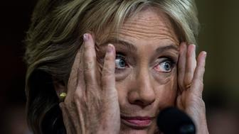 WASHINGTON, DC - OCTOBER 22:  Former Secretary of State Hillary Clinton testifies, and reacts to Chairman Trey Gowdy (R-SC) and Co Chairman Elijah Cummings (D-MD) arguing, during the House Select Committee on Benghazi hearing on Capitol Hill in Washington, DC Thursday October 22, 2015. (Photo by Melina Mara/The Washington Post via Getty Images)