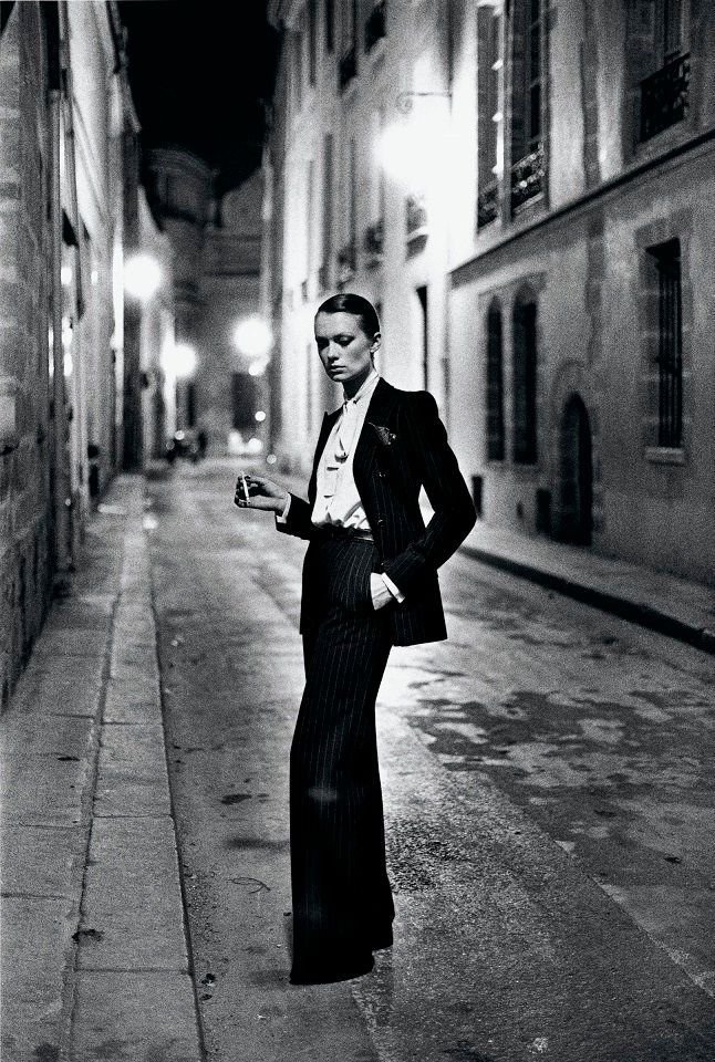"Helmut Newton, French Vogue, Rue Aubroit, Paris 1975 from the series ""White Women"""