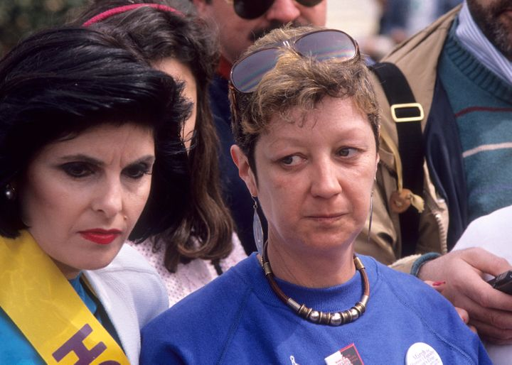 Civil Rights Attorney Gloria Allred and Norma McCorvey attend the NOW's 'March for Women's Equality/Women's Live' Pro-Choice