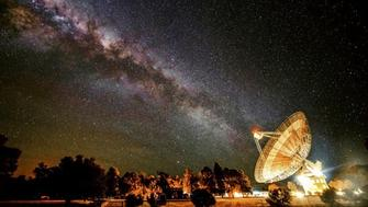 The Parkes radio telescope in New South Wales, Australia. It's involved in the search for extraterrestrial life.