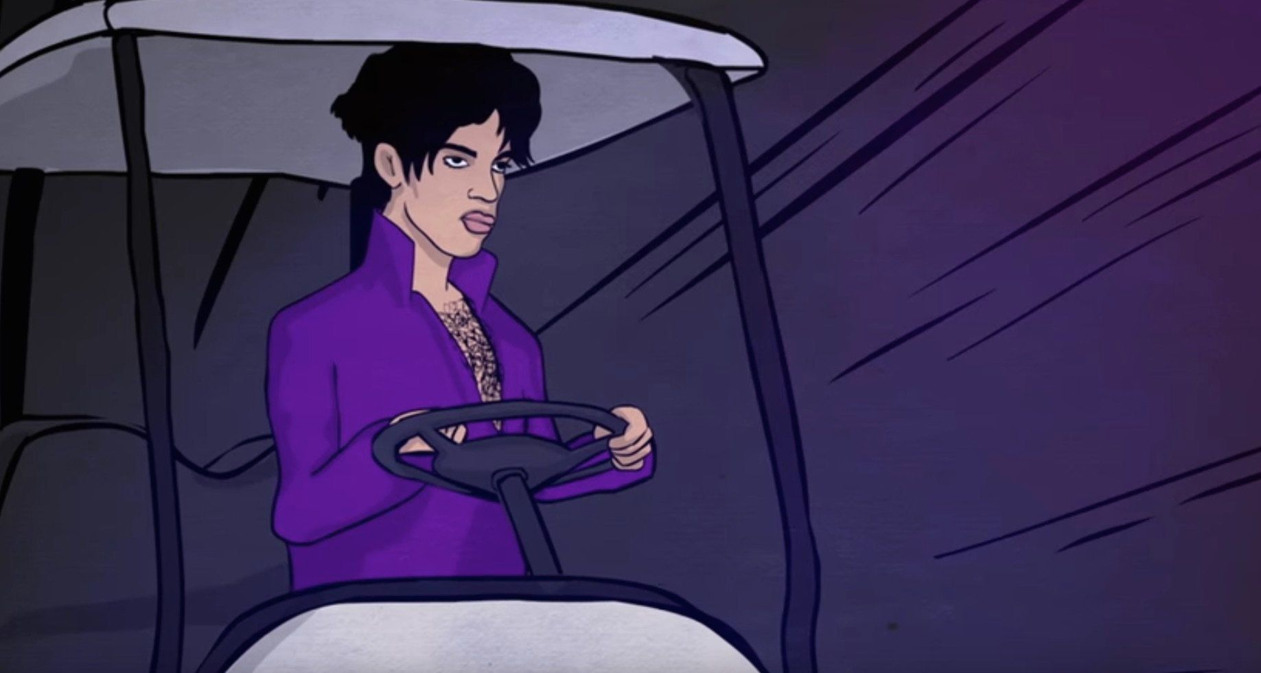 Prince in a golf cart