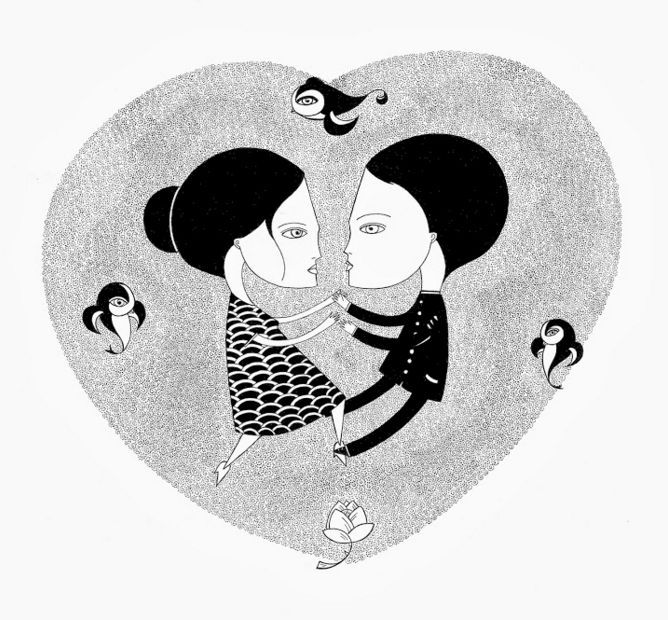 A quintessential Le Chevalier drawing of two black-and-white figures holding hands inside of a heart.