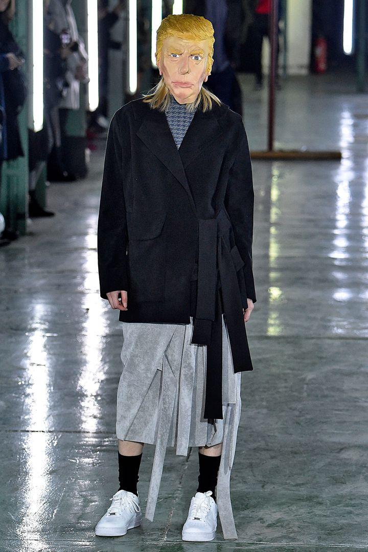 A model walks the runway during the AVOC Menswear Fall/Winter 2016-2017 show as part of Paris Fashion Week.