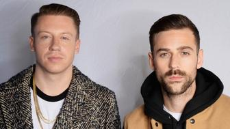 MILAN, ITALY - OCTOBER 25:  (EXCLUSIVE COVERAGE) American hip-hop duo Macklemore (L) and Ryan Lewis pose for a portrait before the MTV EMA's at the Mediolanum Forum on October 25, 2015 in Milan, Italy.  (Photo by Dave Hogan/MTV 2015/Getty Images for MTV)