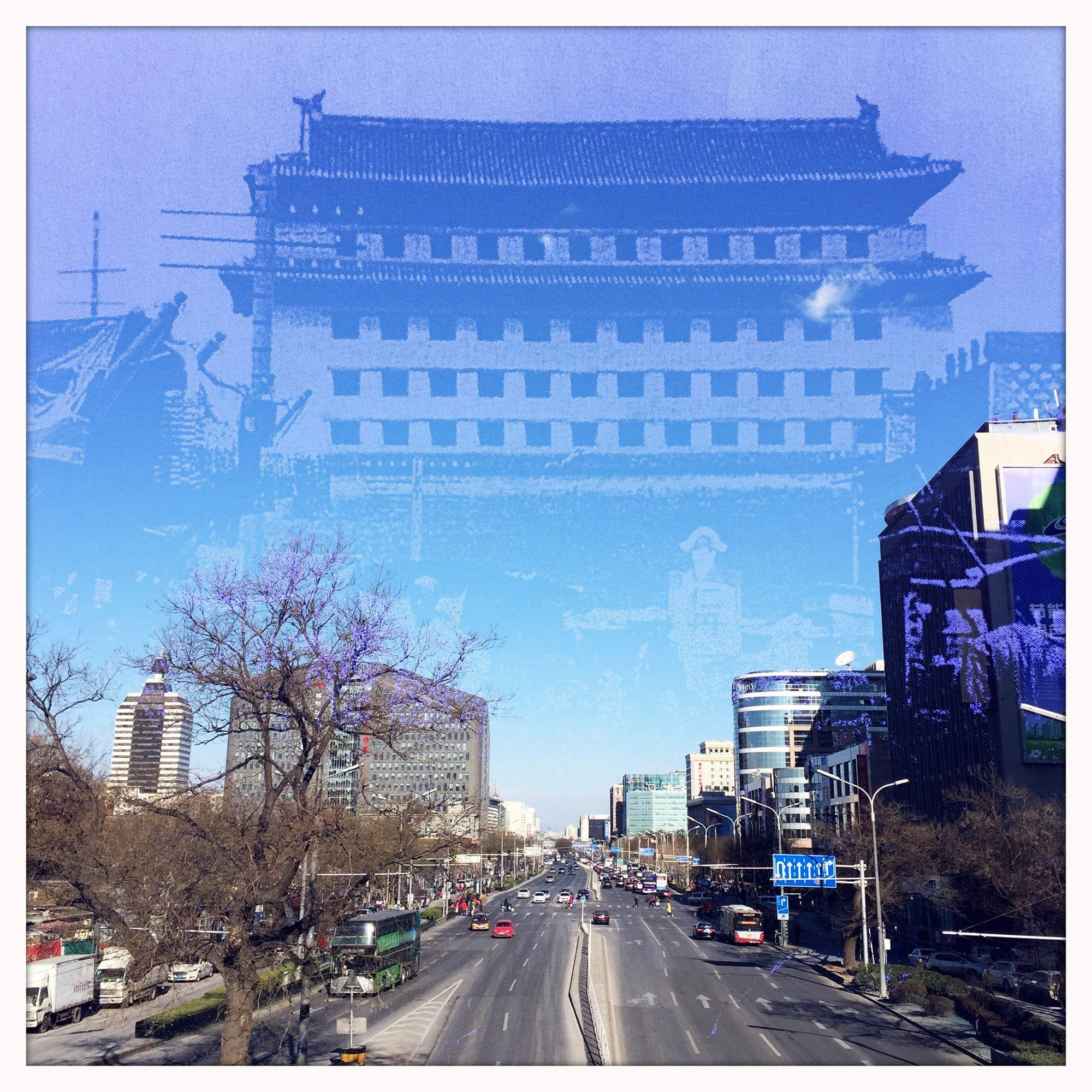 An image of Xuanwumen Gate Tower, which was demolished in 1965, is superimposed on one of Xuanwumen area, now home to ma