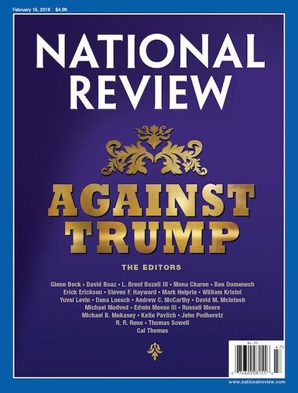 The National Review, in Trumpian gold, calls on conservatives to stop the Republican front-runner.