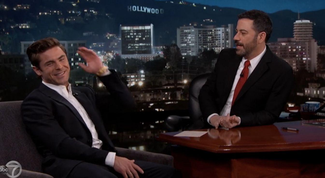 Zac Efron and Jimmy Kimmel chatting Thursday night.