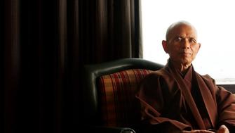 Thich Nhat Hanh is a Vietnamese Buddhist monk. Hanh talked about peace and the world since September 11, 2001 from his hotel room on Monday, August 19, 2002.  (Photo By Cyrus McCrimmon/The Denver Post via Getty Images)