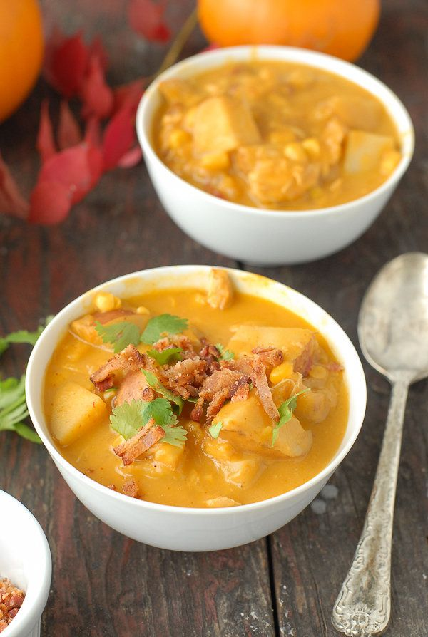 """<strong>Get the <a href=""""http://boulderlocavore.com/slow-cooker-spicy-pumpkin-chicken-corn-chowder/"""" target=""""_blank"""">Slow Coo"""