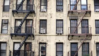 NEW YORK CITY, UNITED STATES - SEPTEMBER 24: Decayed facade of an apartment building in Manhattan on September 24, 2014, in New York City, United States. Photo by Thomas Koehler/Photothek via Getty Images)***Local Caption***