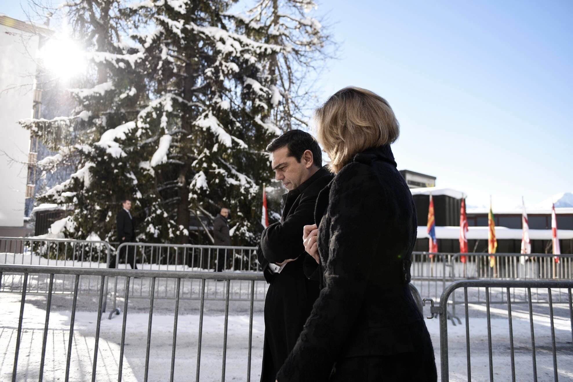 Arianna Huffington met with Greek Prime Minister Alexis Tsipras in Davos, where the two discussed Greece's future.
