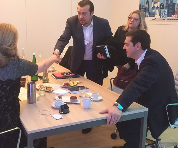 Huffington spoke with Tsipras (far right) and his team, state minister Nikos Pappas, and special adviser Danai Badogianni.