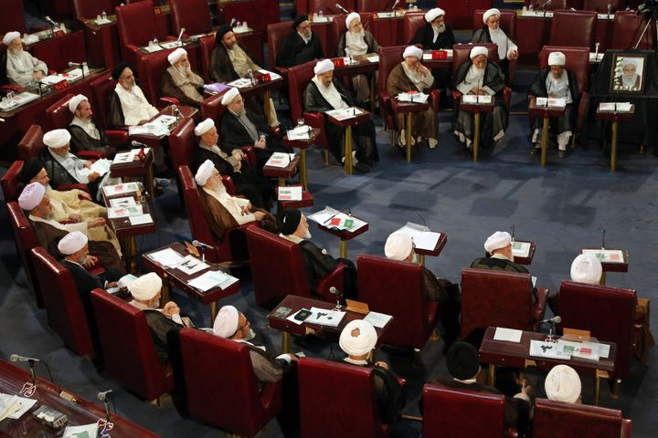 Iranian members of the Assembly of Experts attend a session in Tehran on Sept. 1, 2015.