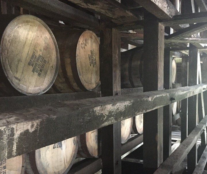 Barrels are stacked high in the many rickhouses along the Kentucky Bourbon Trail.