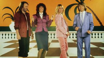 Swedish pop group Abba, circa 1980. Left to right: Benny Andersson, Frida Lyngstad, Agnetha Faltskog and Bjorn Ulvaeus. (Photo by GAB Archive/Redferns/Getty Images)