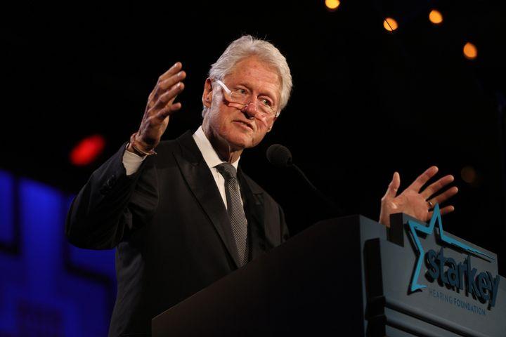 Former President Bill Clinton speaks at agala of the Starkey Hearing Foundation in 2015.