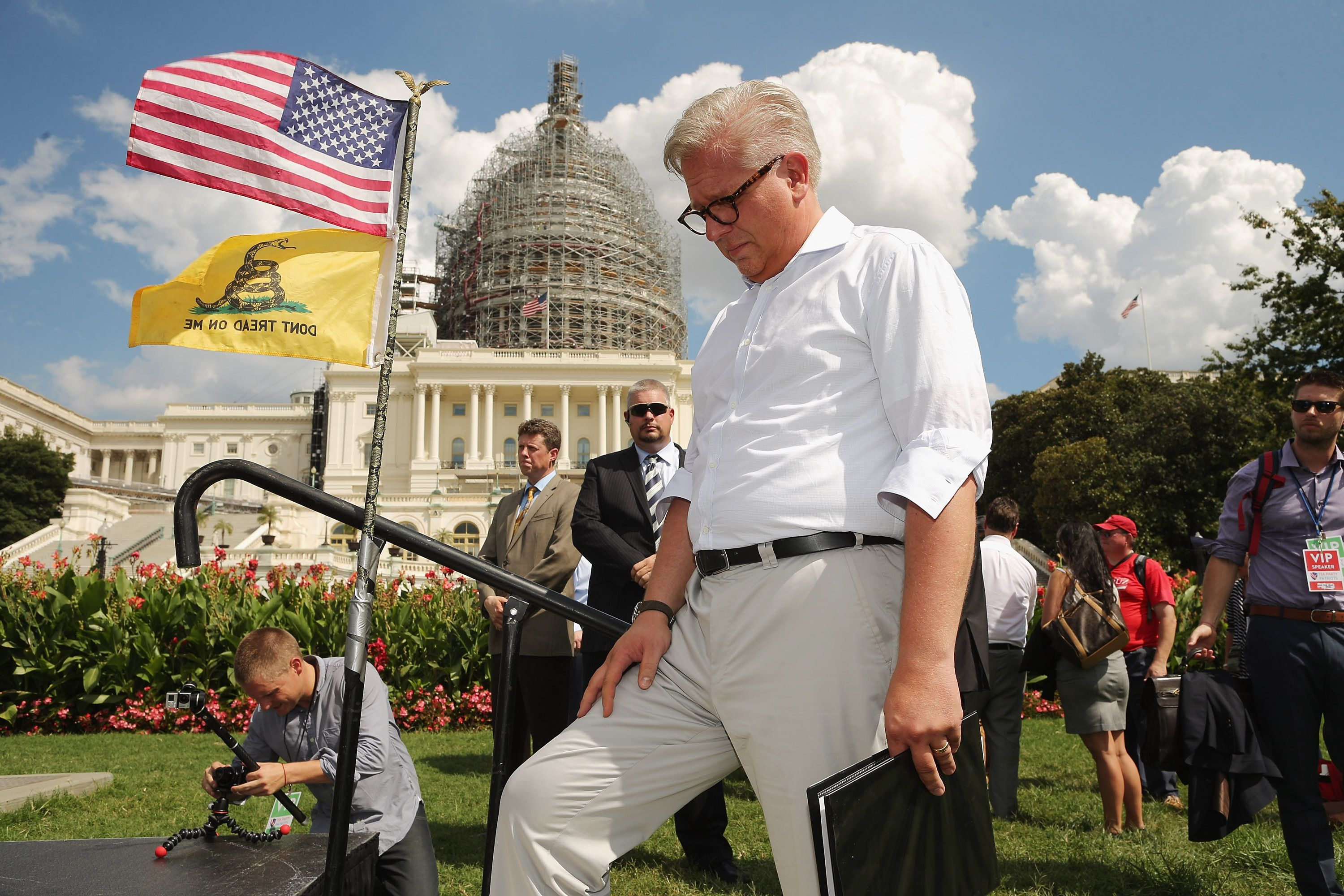 WASHINGTON, DC - SEPTEMBER 09:  Conservative pundit Glenn Beck prepares to take the stage during a rally against the Iran nuclear deal on the West Lawn of the U.S. Capitol September 9, 2015 in Washington, DC. Thousands of people gathered for the rally, organized by the Tea Party Patriots, which featured conservative pundits and politicians.  (Photo by Chip Somodevilla/Getty Images)