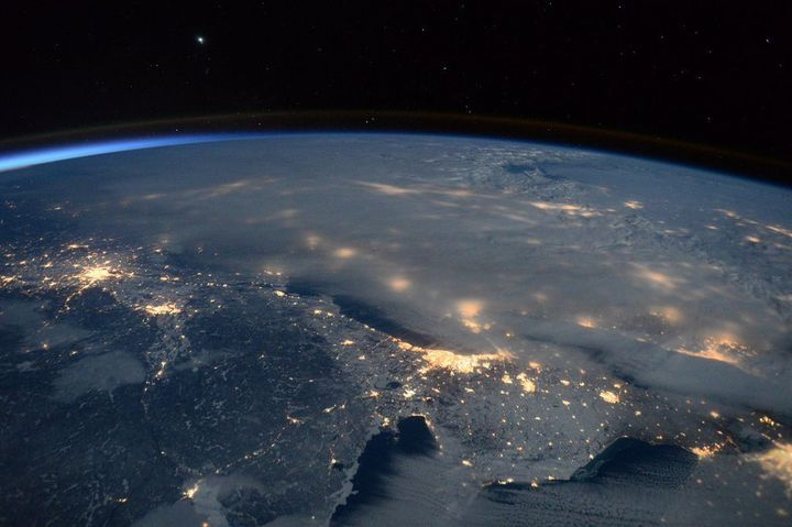 A late January blizzard which dumped several feet of snow across the East Coast is seen from the International Space Station.
