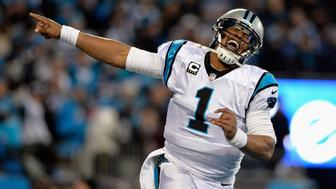 CHARLOTTE, NC - JANUARY 24:  Cam Newton #1 of the Carolina Panthers celebrates scoring a touchdown in the second quarter against the Arizona Cardinals during the NFC Championship Game at Bank of America Stadium on January 24, 2016 in Charlotte, North Carolina.  (Photo by Grant Halverson/Getty Images)