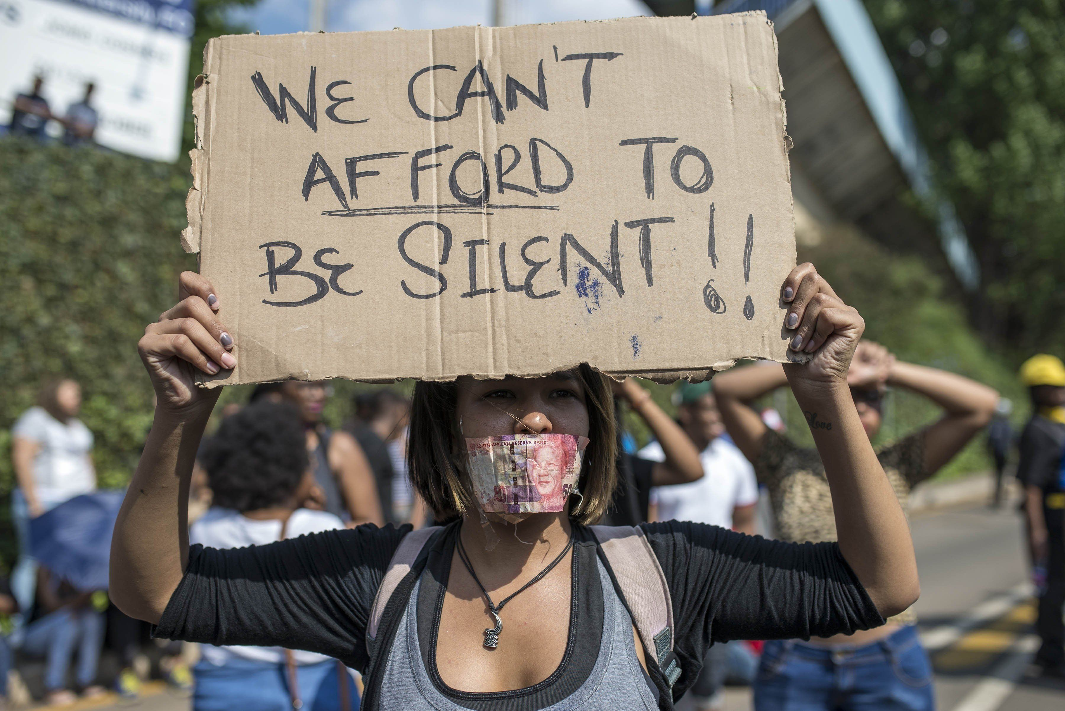 Students at the University of the Witwatersrand protested over the increase in tuition fees in Johannesburg, South Afric