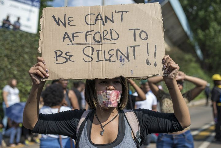 Students atthe University of the Witwatersrand protested over the increase in tuition fees in Johannesburg, South Afric