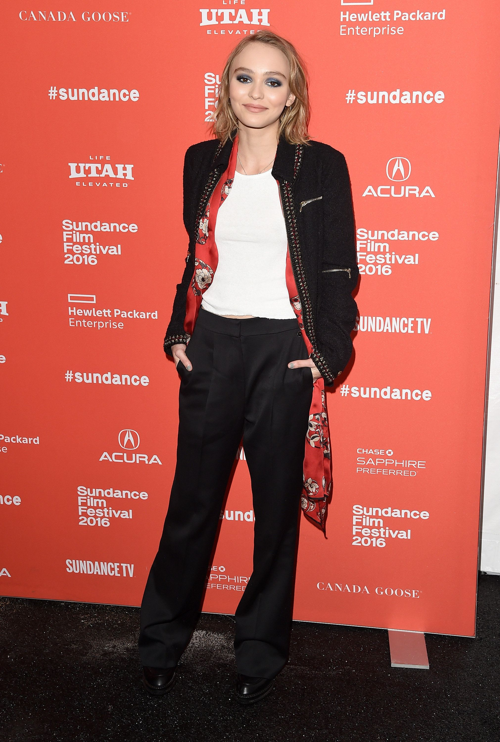 """Lily-Rose Melody Depp poses at the """"Yoga Hosers"""" premiere at Sundance on Jan. 24, 2016."""