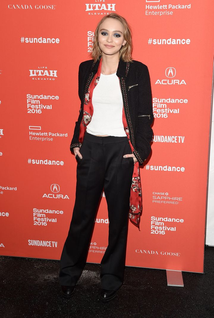 "Lily-Rose Melody Depp poses at the ""Yoga Hosers"" premiere at Sundance on Jan. 24, 2016."