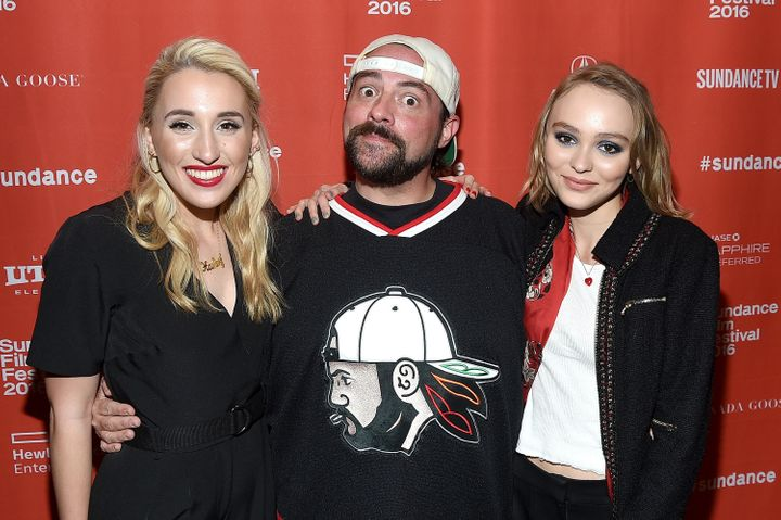 Harley Quinn Smith, director Kevin Smith and Lily-Rose Depp attend the 'Yoga Hosers' premiere at Sundance on Jan. 24, 2016 in