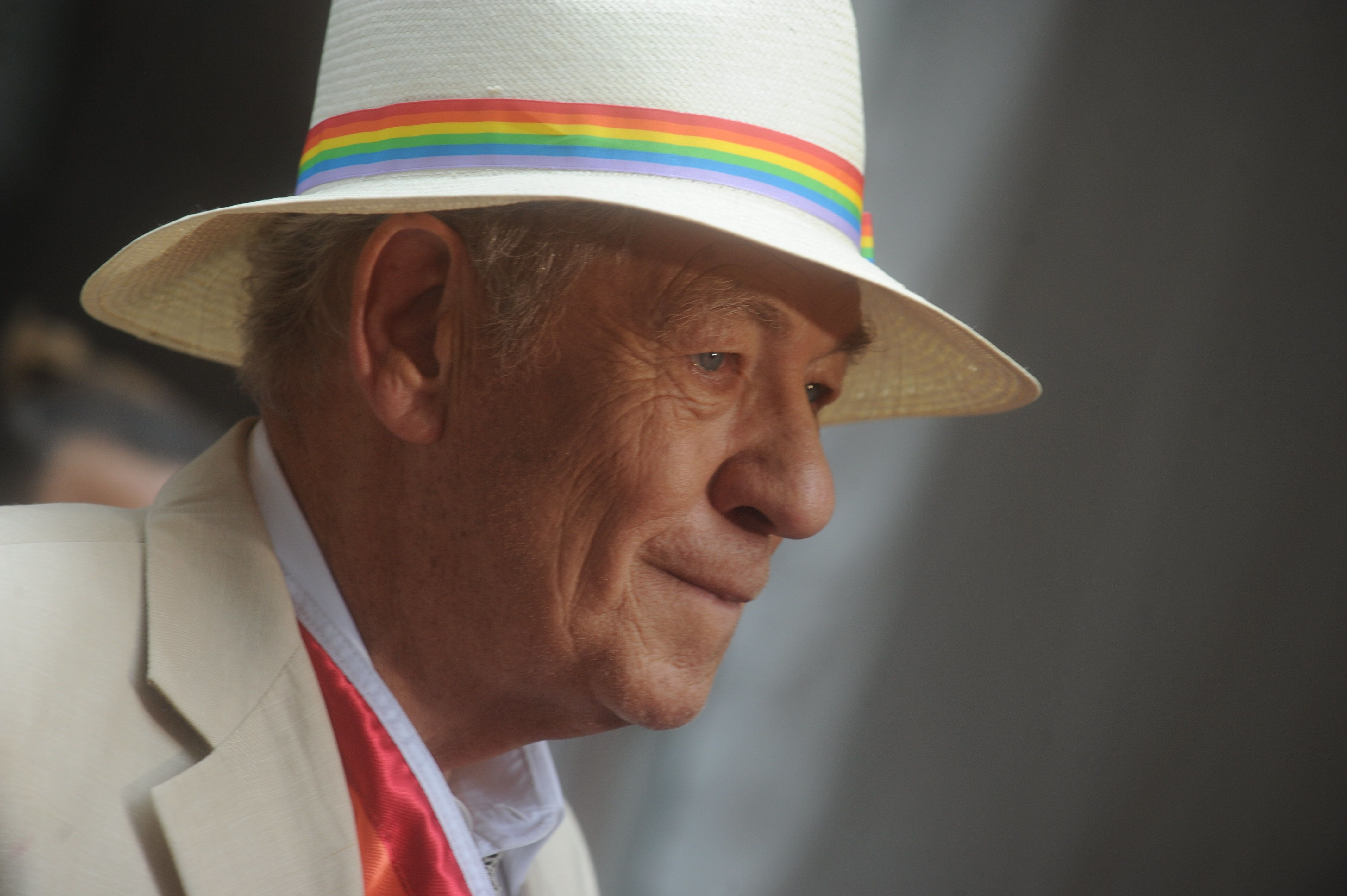 Grand Marshal Sir Ian McKellen rides in a Fiat 500 during the 2015 New York City Pride march in New York on June 28, 2015. Photo by Dennis Van Tine/ABACAUSA.COM