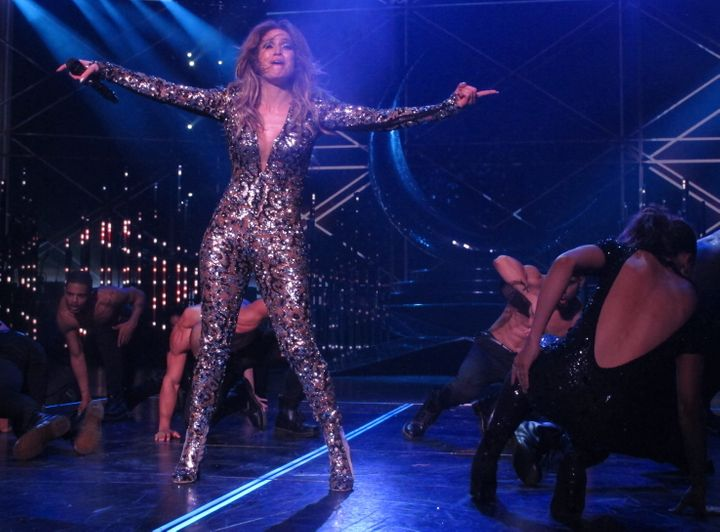 """Jennifer Lopezperforms on stage during her """"All I Have"""" residency in Las Vegas."""