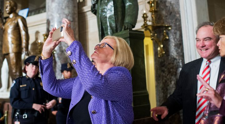 The Missouri senator shared the experience via Twitter. (Here she's apparently recording another moment in time -- just
