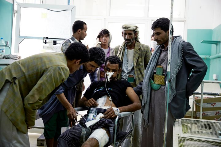 Doctors Without Borders operates in Yemen to treat wounded civilians. Above, an injured man receives medical treatment at a S