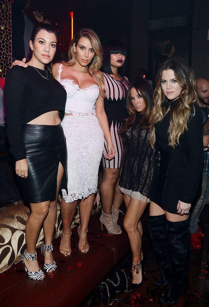 Kourtney Kardashian, Kim Kardashian, Blac Chyna, Robin Antin and Khloe Kardashian celebrate Kim's 33rd birthday at Tao Las Ve