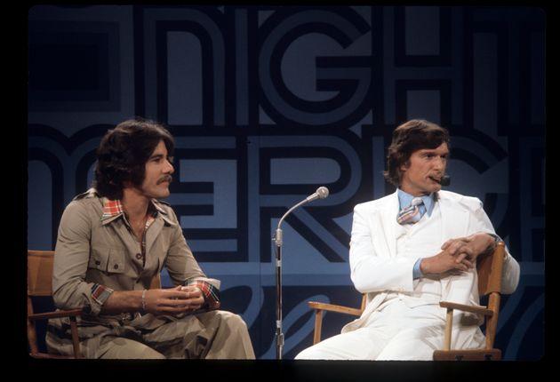 Geraldo Rivera, left, and Hugh Hefner filming a