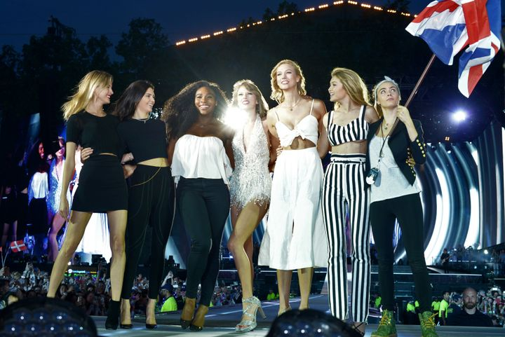 Martha Hunt, Kendall Jenner, Serena Williams, Taylor Swift, Karlie Kloss, Gigi Hadid and Cara Delevingne perform onstage duri