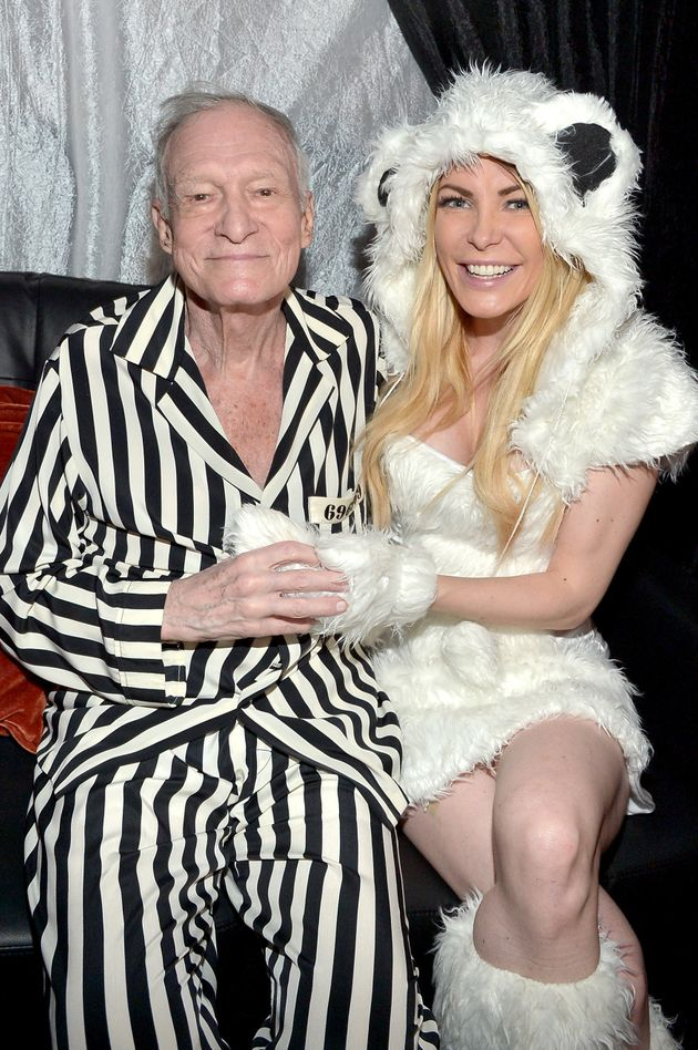 Hgh Hefner and wife Crystal Hefner attend the annual Halloween Party at the Playboy Mansion on Oct. 24,